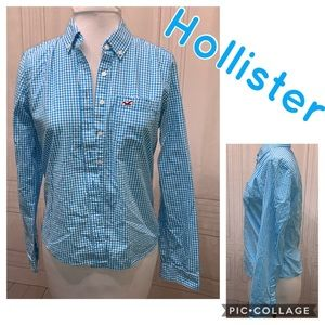 Hollister Blue and White Checkered Button Shirt